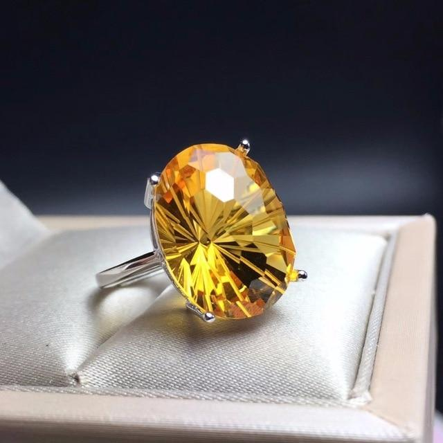 """Wealth & Prosperity"" Natural Healing Citrine Ring - 925 Sterling Silver With Certificate"