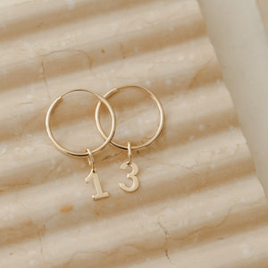 Number 3 Charm - 10k Solid Gold