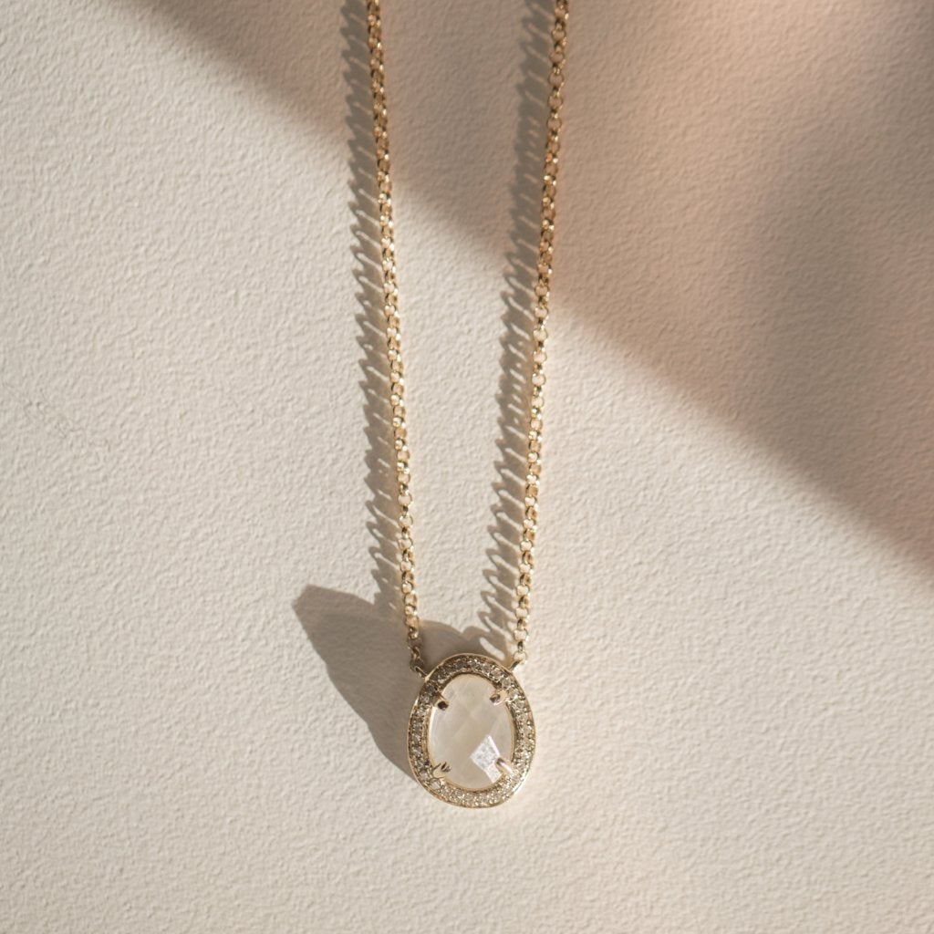 Stone Slice Necklace - 14k Solid Gold