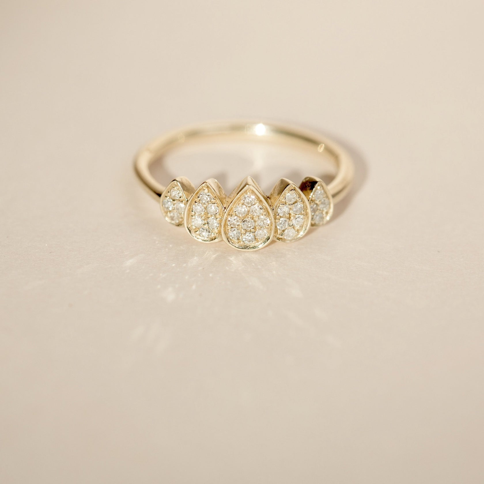 Diamond Crown Ring - 14k Solid Gold
