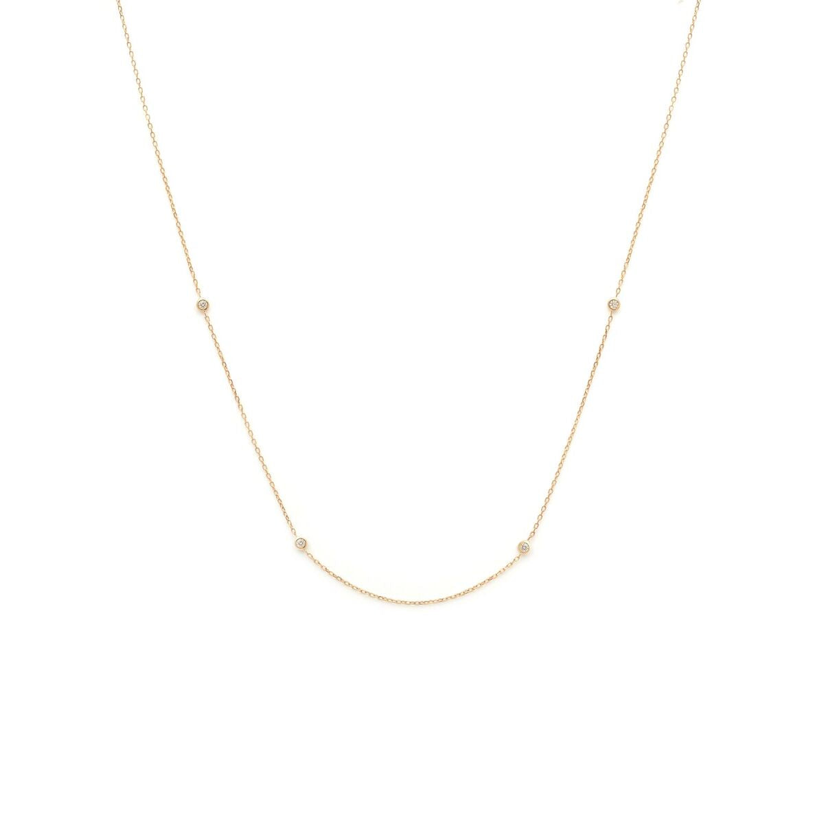 Delicate Diamond Strand Necklace - 14k Solid Gold