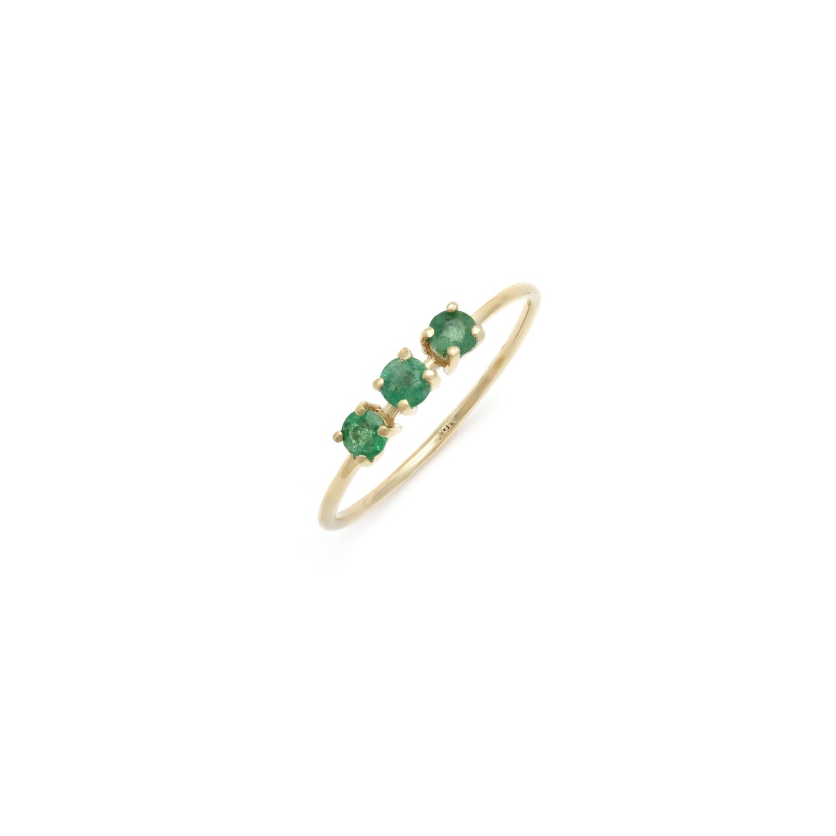 Emerald Trio Ring - 10k Solid Gold