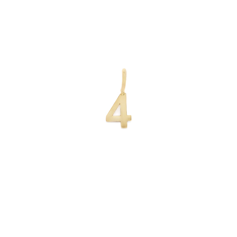 Number 4 Charm - 10k Solid Gold