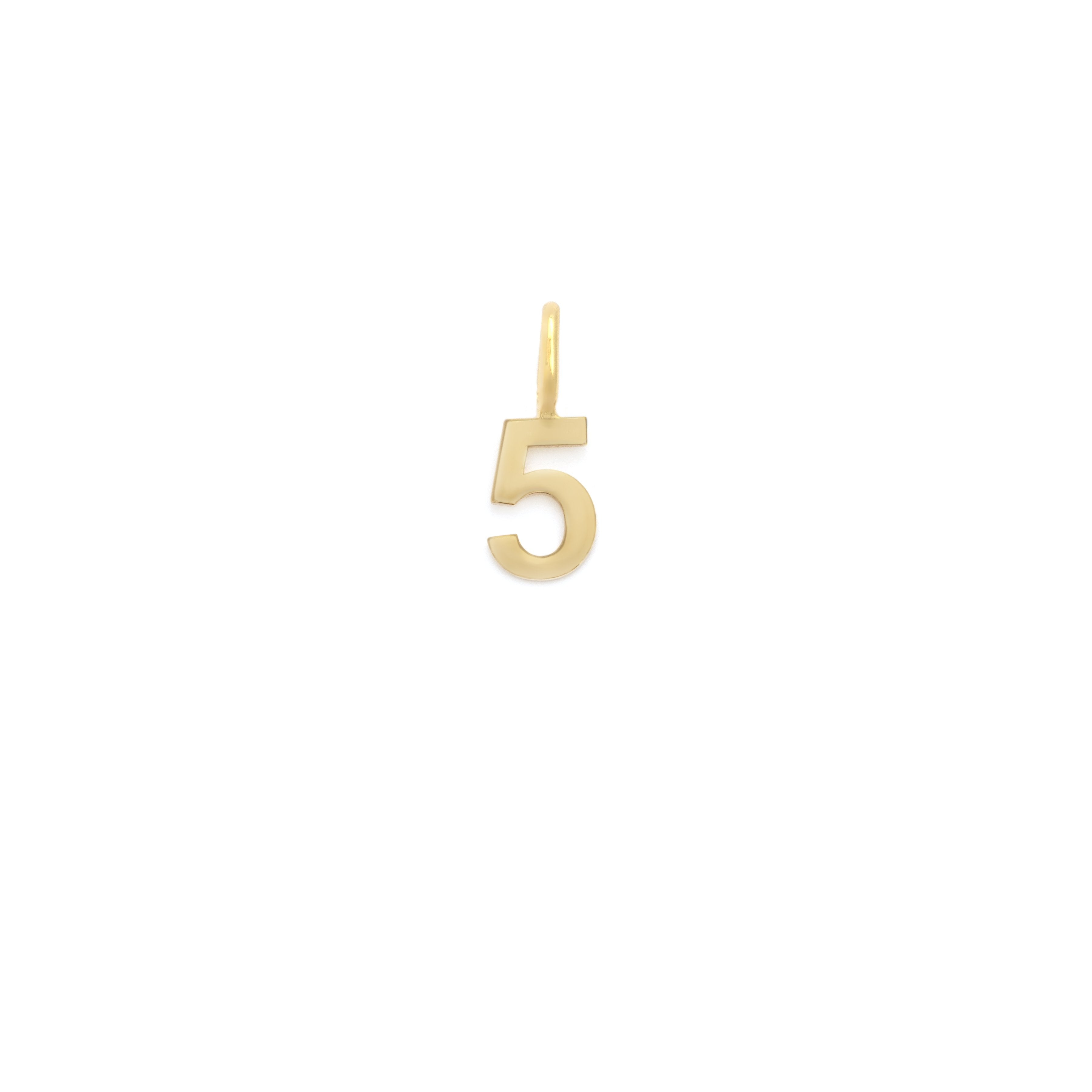 Number 5 Charm - 10k Solid Gold