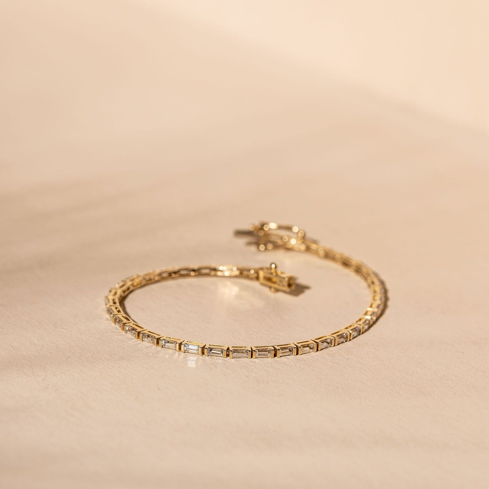 *Made To Order* White Sapphire Tennis Bracelet - 14k Solid Gold