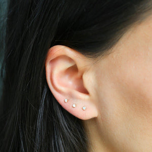 Tiny Diamond Stud - 14k Solid Gold