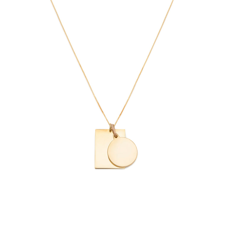 Tag Duo Charm Necklace - 10k Solid Gold