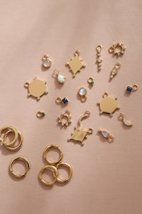 Single Green Spark Earring Charm - Gold Vermeil