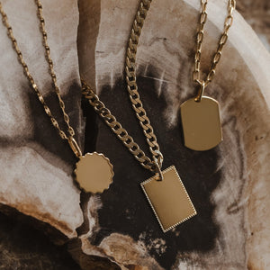 Dog Tag Pendant - 10k Solid Gold