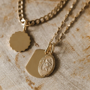Small St. Christopher Oval Pendant - 10k Solid Gold