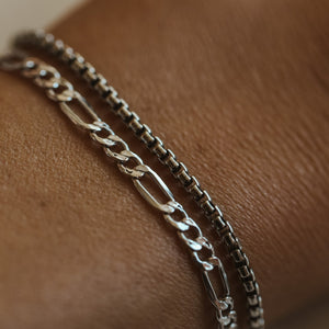 Thick Figaro Bracelet - Sterling Silver