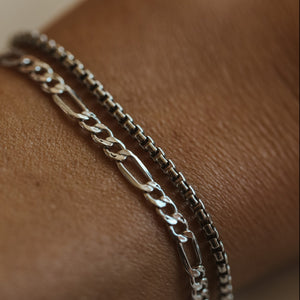 Thick Box Chain Bracelet - Oxidized Sterling Silver