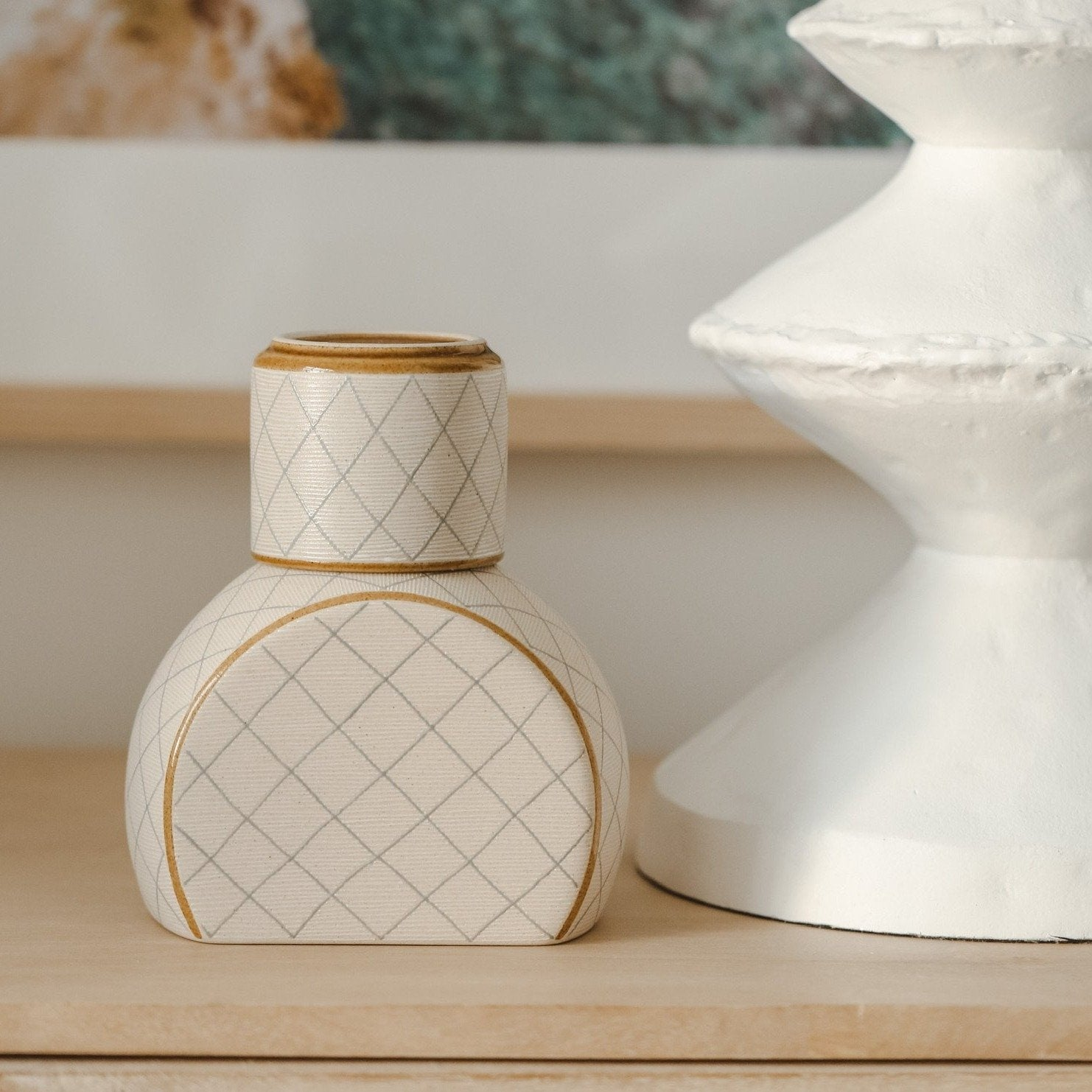 *PREORDER* Hand Painted Cream Lined Carafe