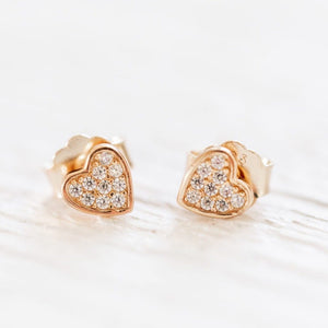 Jilly Pave Heart Studs