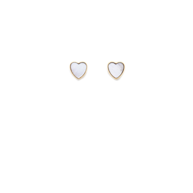 Mother of Pearl Heart Stud - 10k Solid Gold