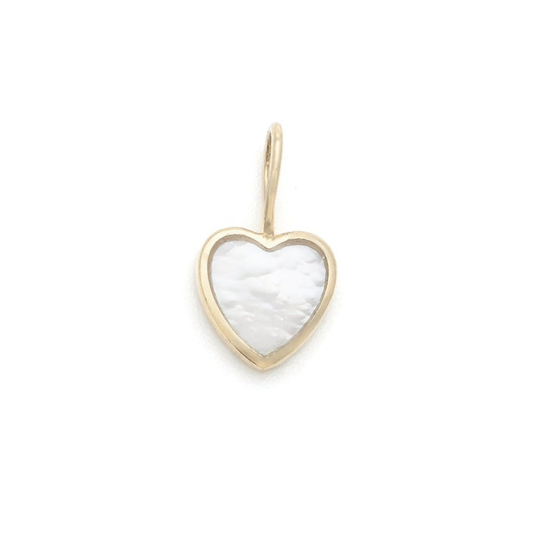 Mother of Pearl Heart Charm - 10k Solid Gold