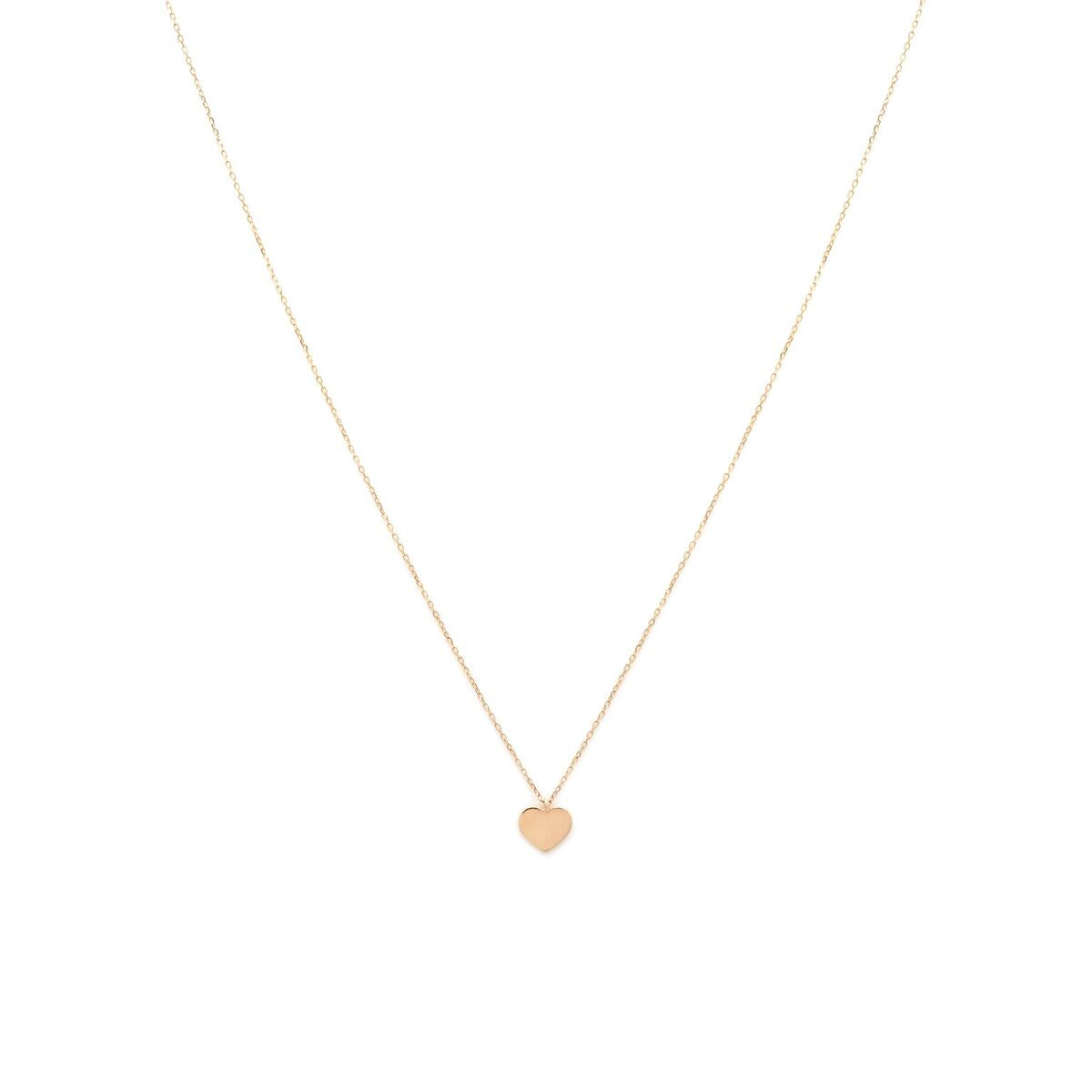 Modern Heart Necklace - 14k Solid Gold