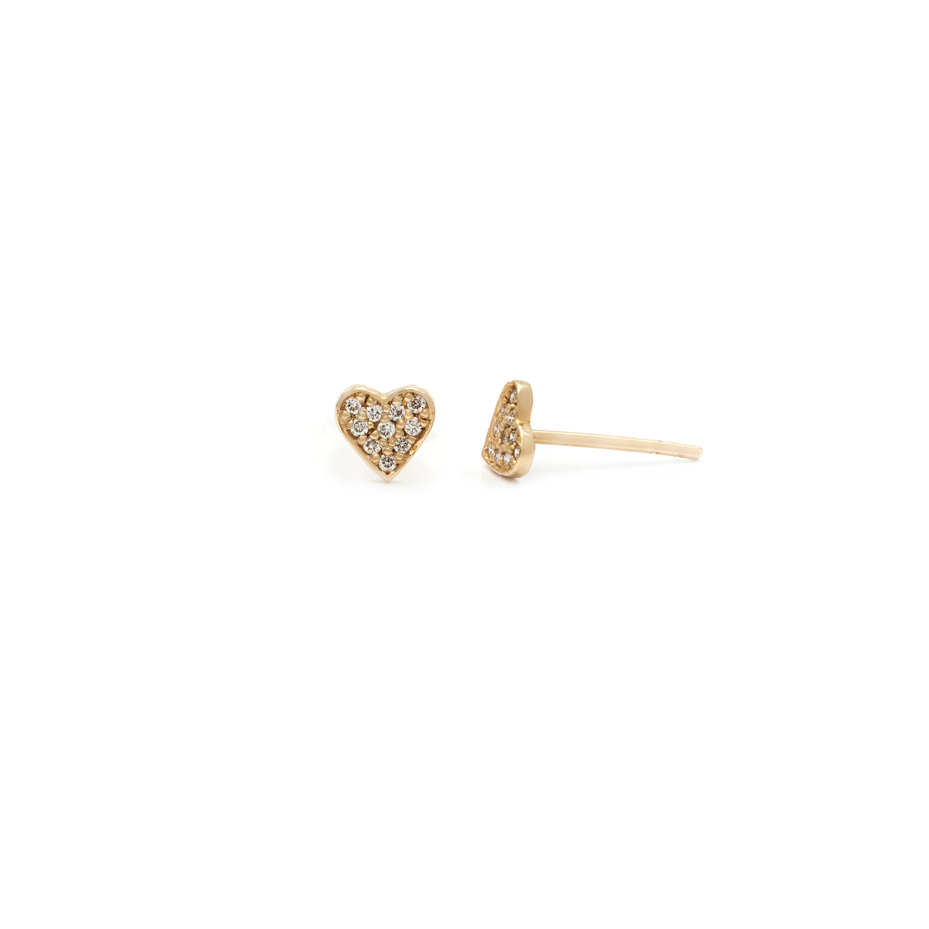 Pave Heart Studs - 10k Solid Gold