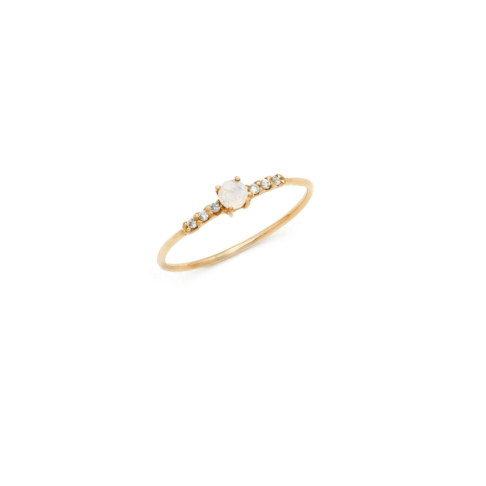 Tiny Moonstone Diamond Ring - 10k Solid Gold