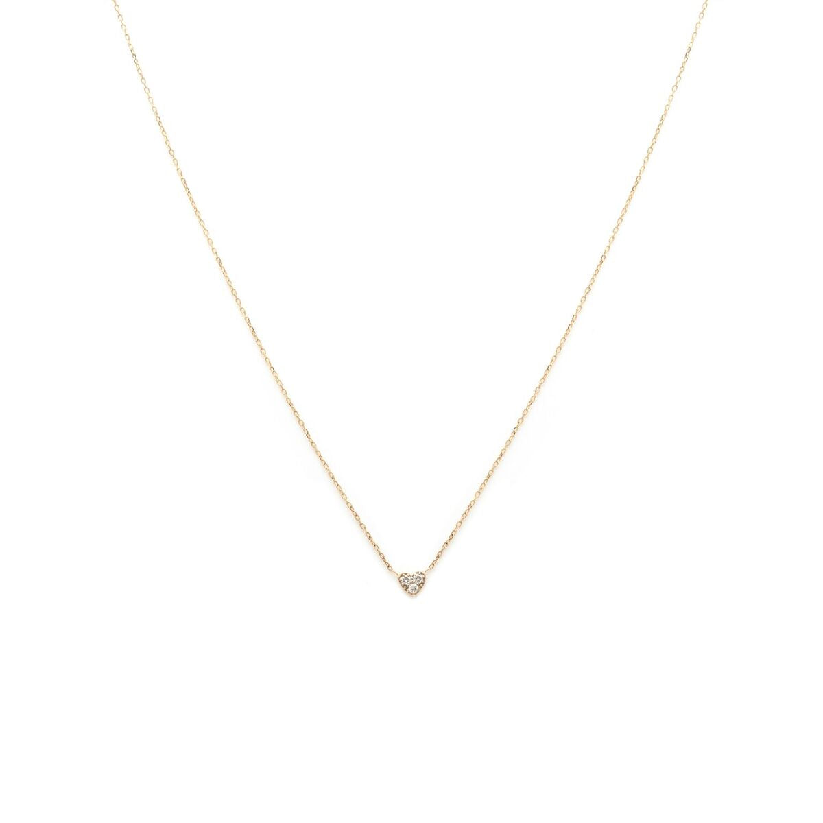 Diamond Heart Necklace - 14k Solid Gold