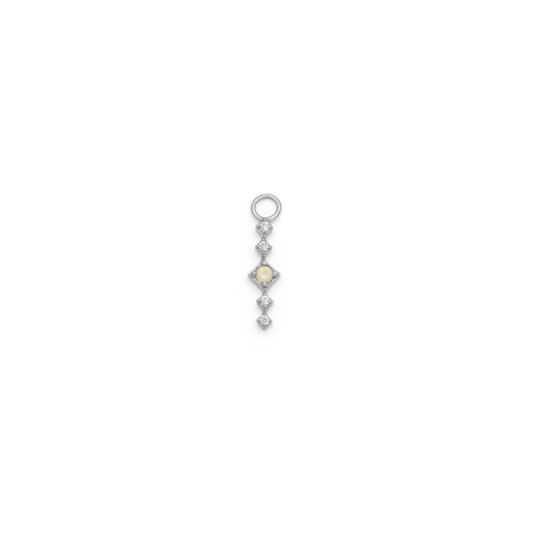 Single Opal Drop Earring Charm - Sterling Silver