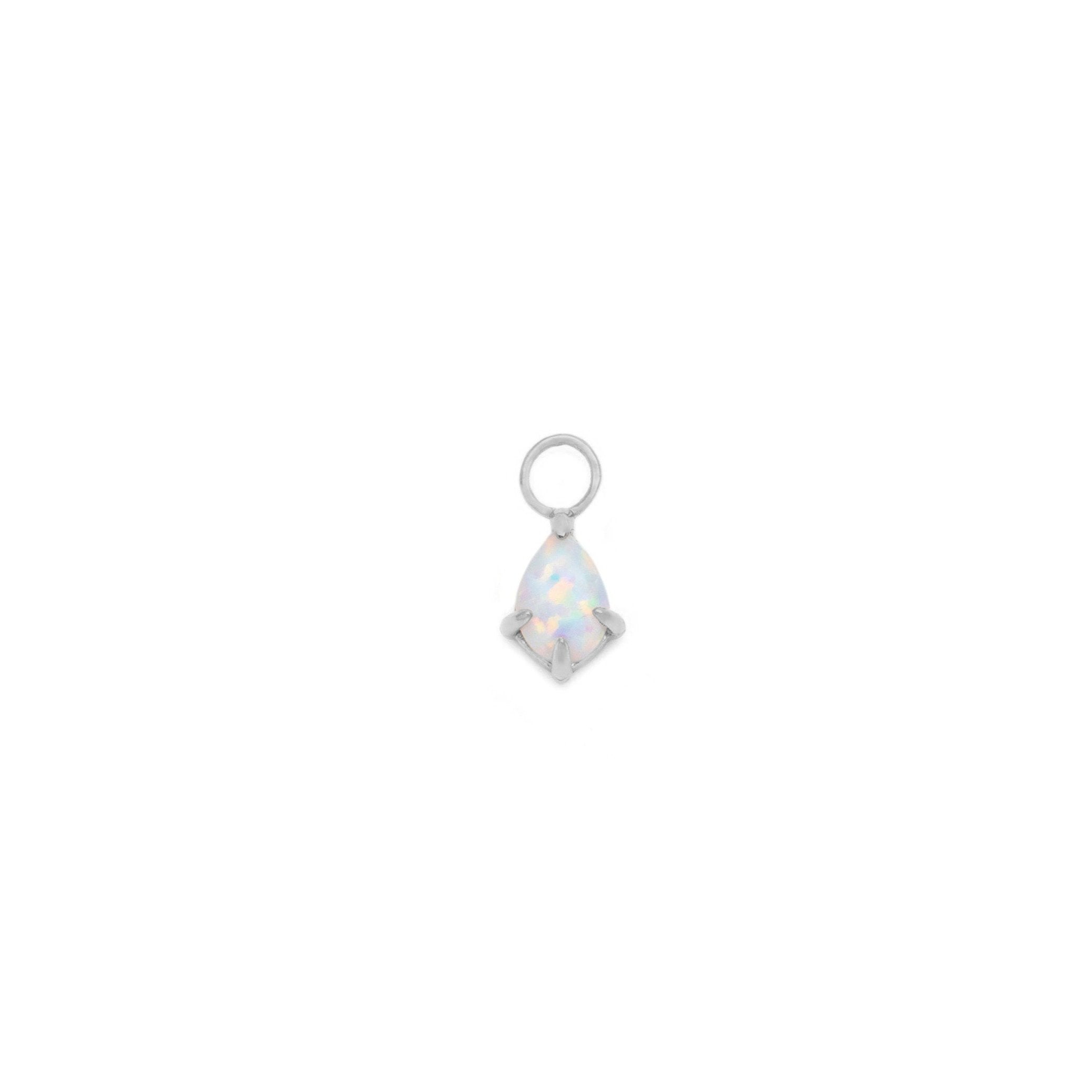 Single Opal Teardrop Earring Charm - Sterling Silver