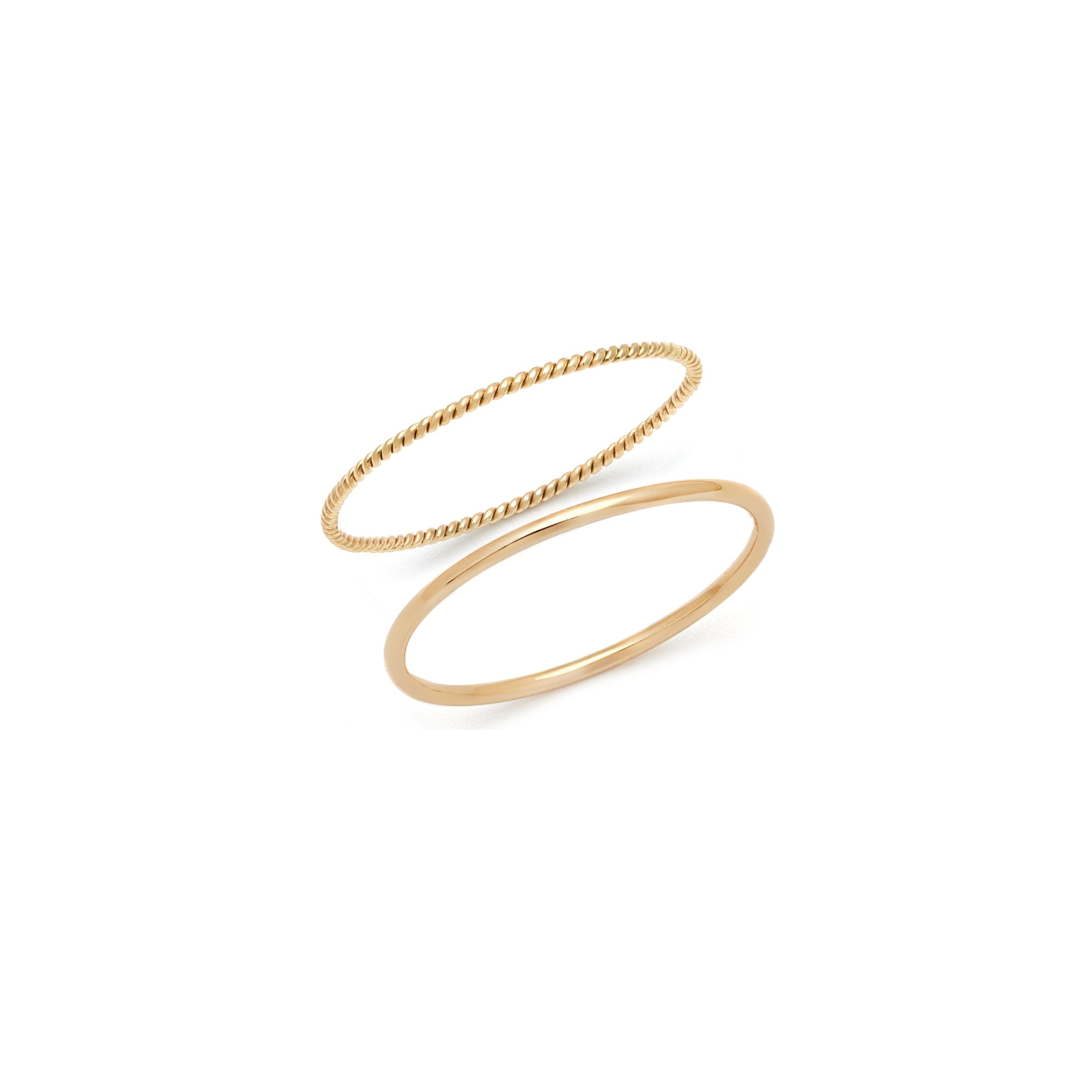 The Minimalist Stack - 14k Solid Gold