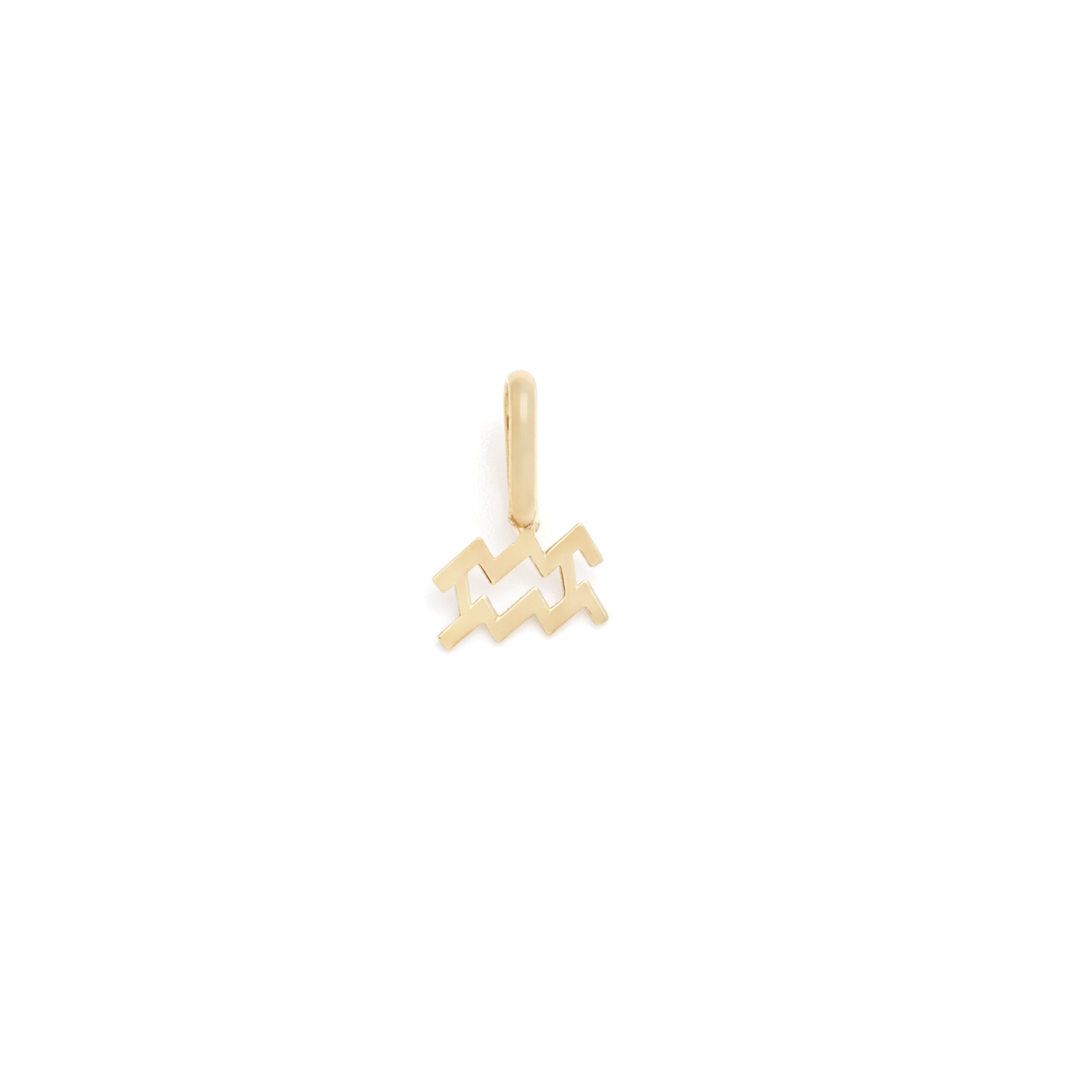 Aquarius Zodiac Charm - 10k Solid Gold