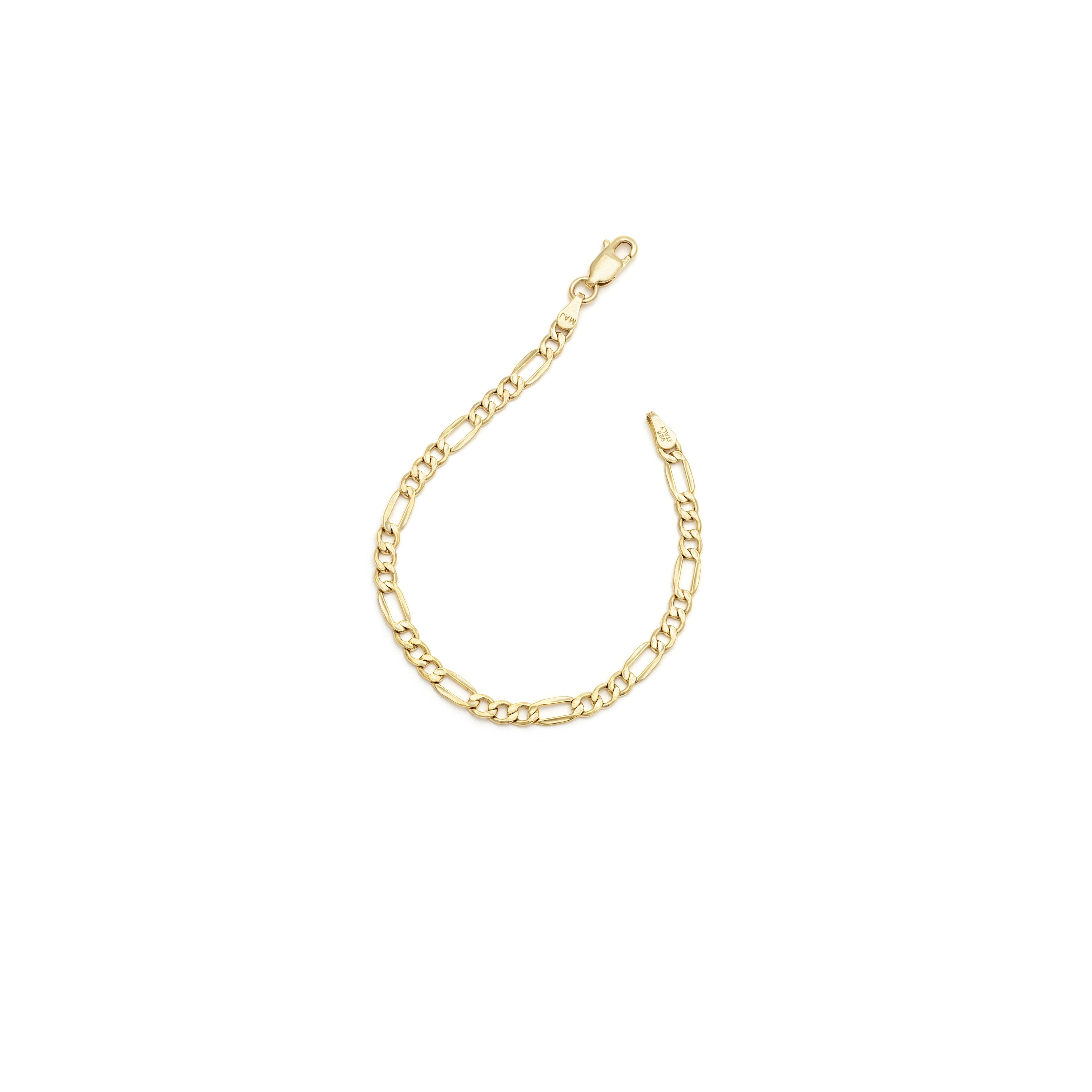 Thick Figaro Bracelet - Gold Vermeil