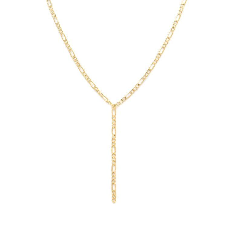 Thick Figaro Lariat Chain - Gold Vermeil