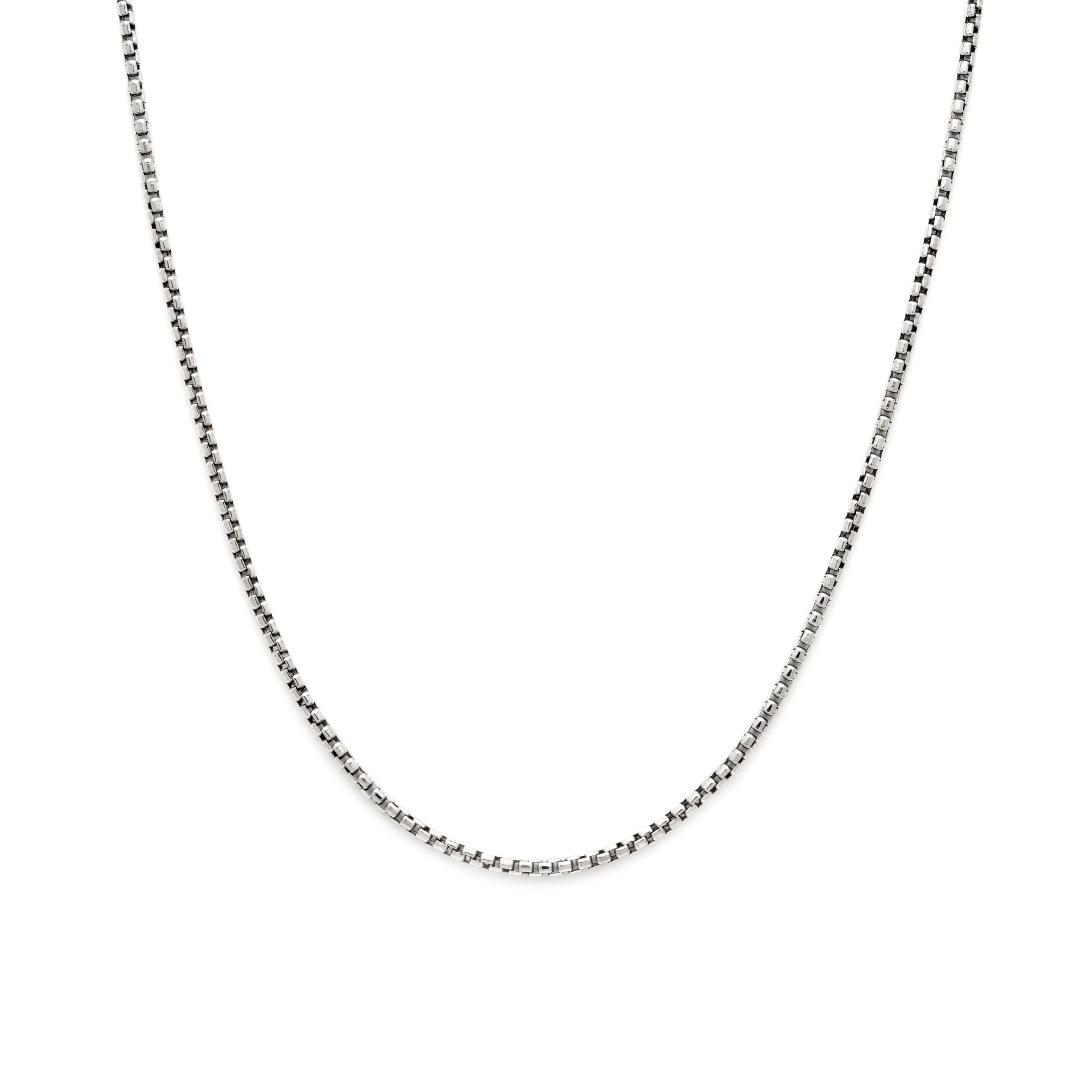 Thick Box Chain - Oxidized Sterling Silver