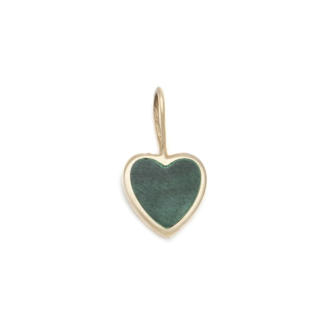 Malachite Heart Charm - 10k Solid Gold