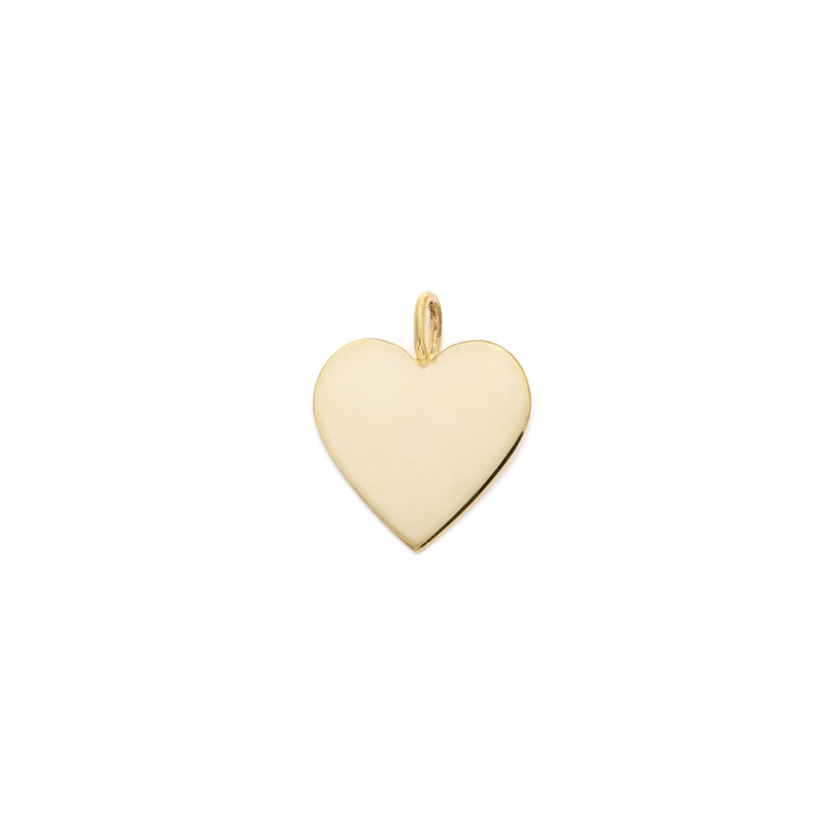 15mm Heart Charm - 10k Solid Gold
