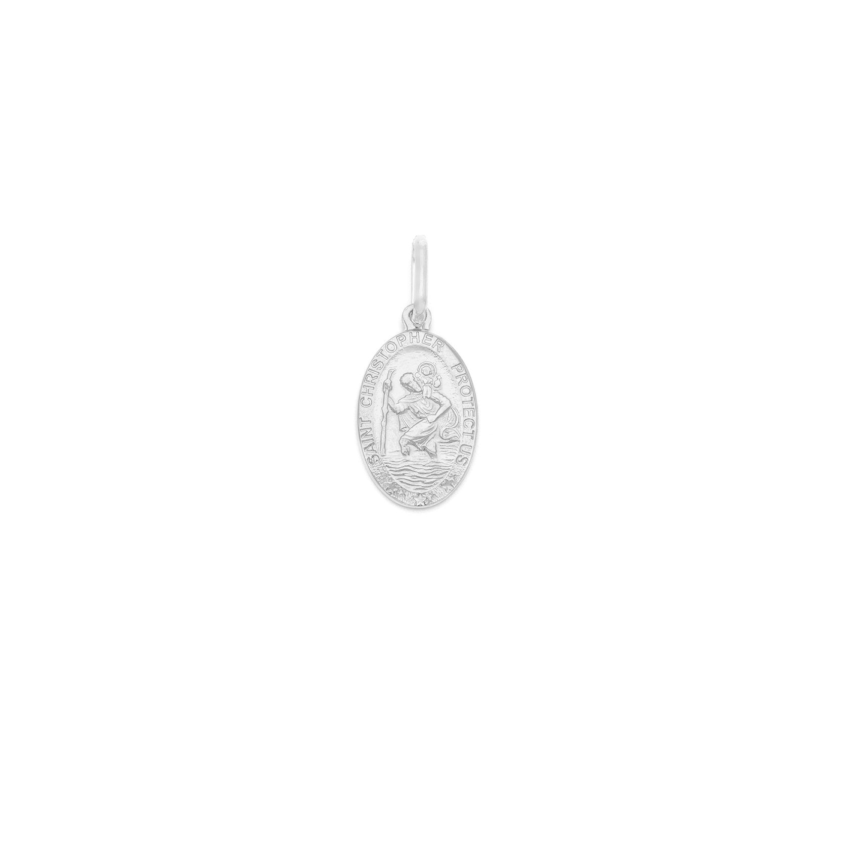 Small St. Christopher Oval Pendant - Sterling Silver