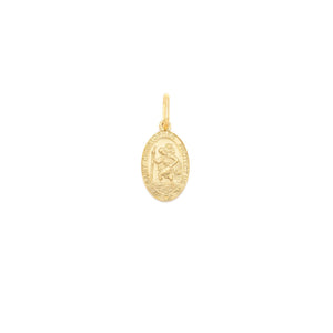 Small St. Christopher Oval Pendant - Gold Vermeil