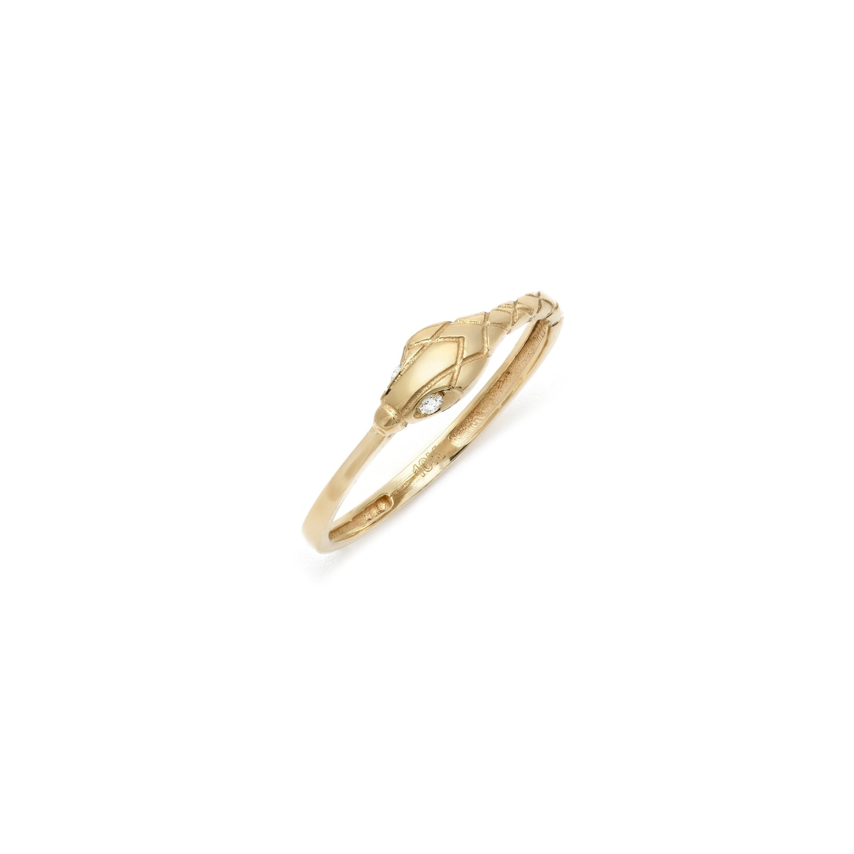 Diamond Serpent Ring - 10k Solid Gold