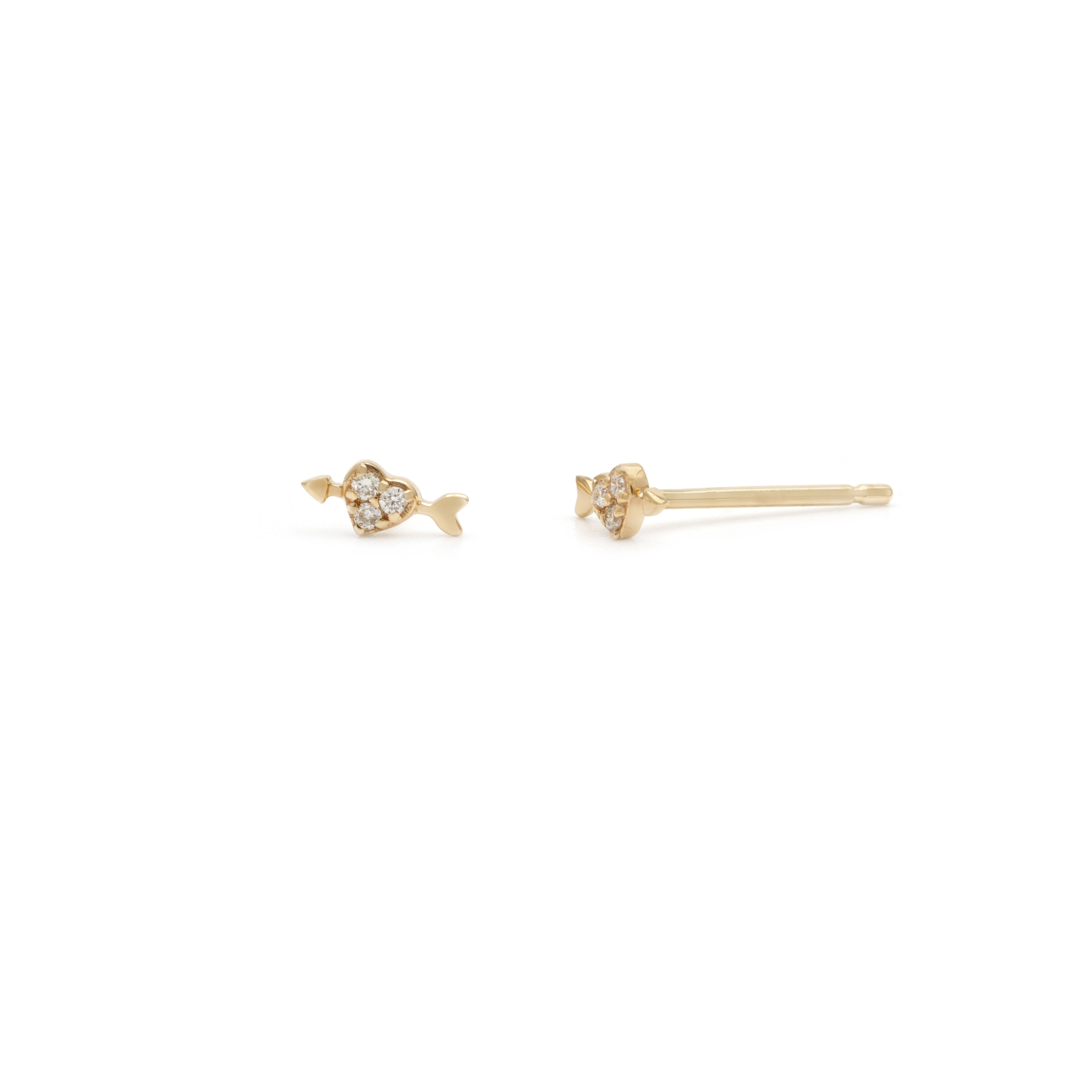 Heart & Arrow Stud - 14k Solid Gold