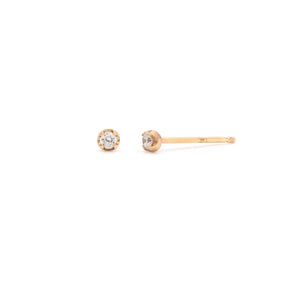 White Sapphire Stud - 14k Solid Gold