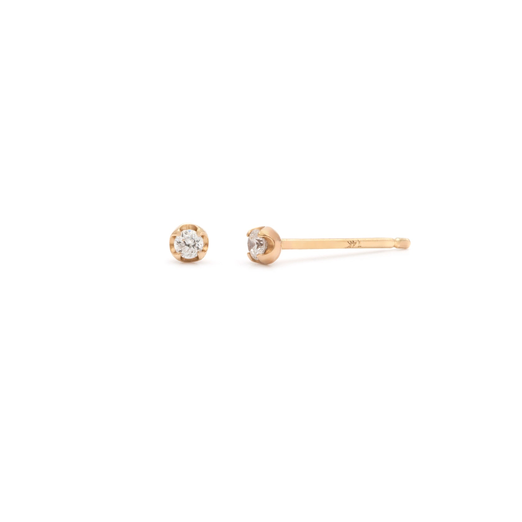 Coveted White Sapphire Stud - 14k Solid Gold