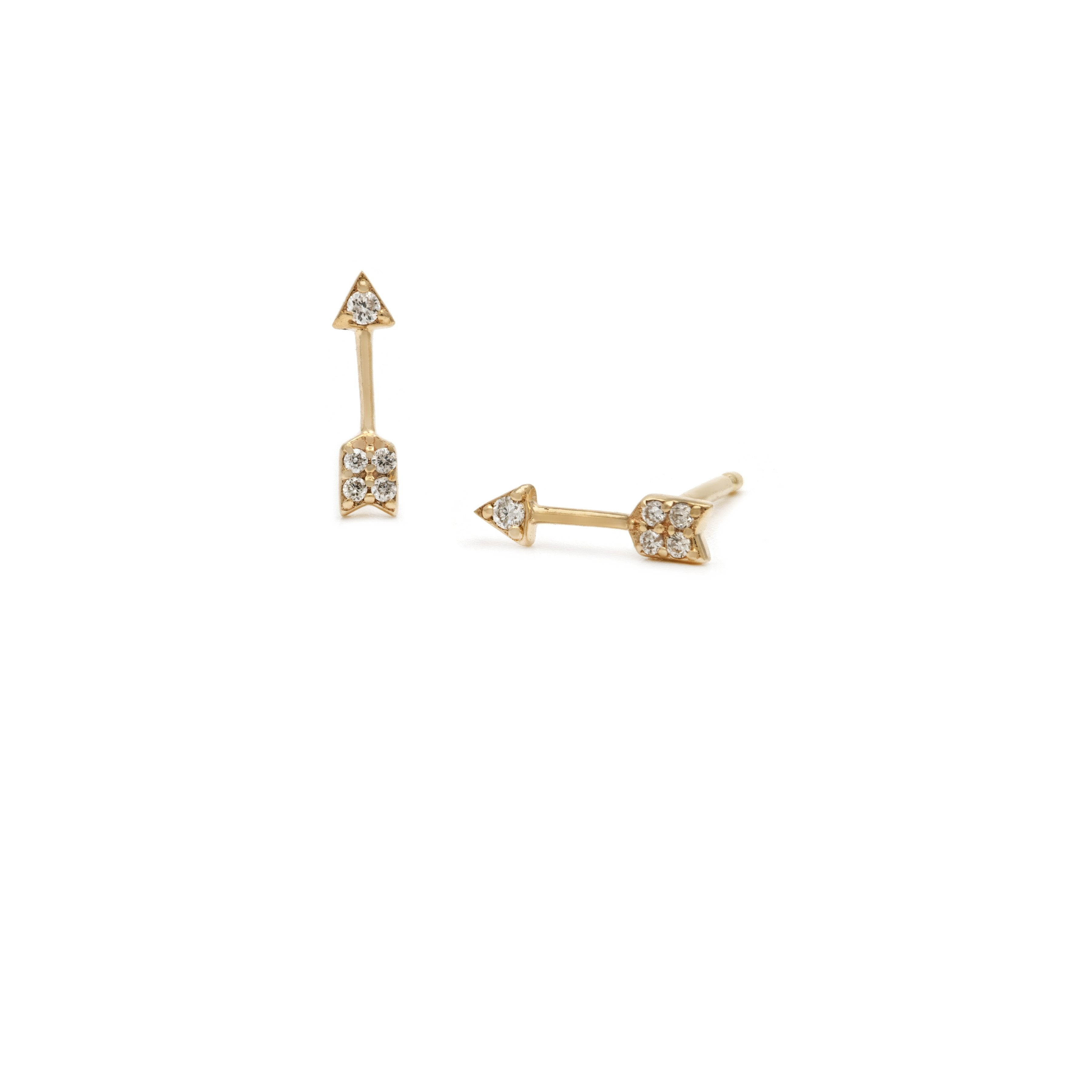Pave Arrow Stud - 14k Solid Gold