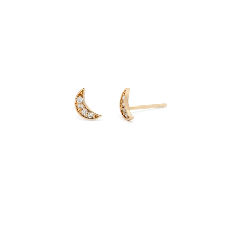 Pave Moon Studs - 10k Solid Gold
