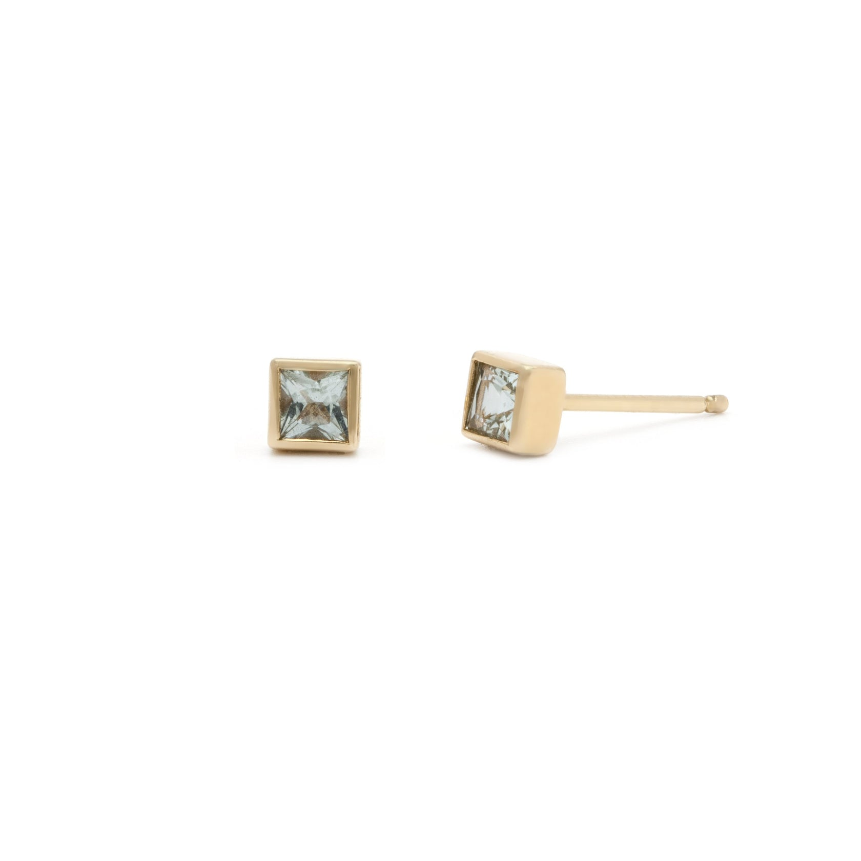 Coveted Aquamarine Stud - 14k Solid Gold