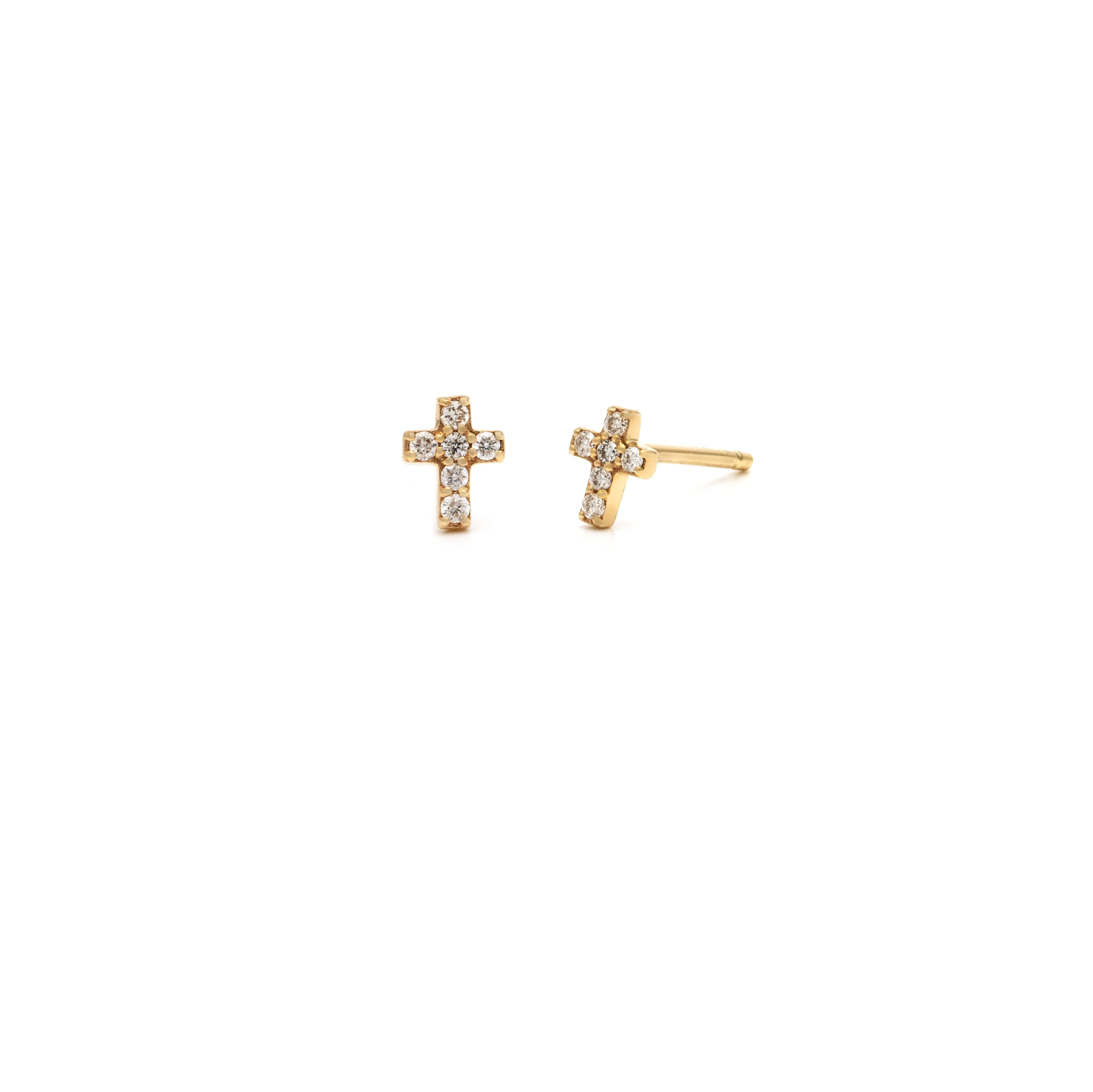 Pave Cross Stud - 14k Solid Gold