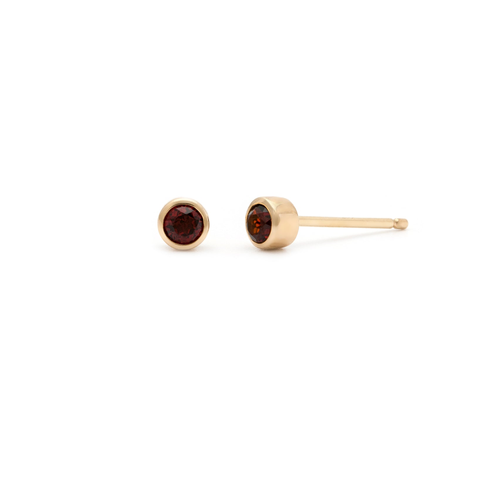 Coveted Garnet Stud - 14k Solid Gold