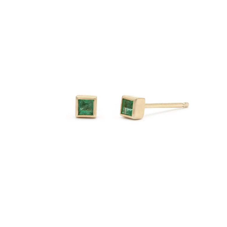 Coveted Emerald Stud - 14k Solid Gold