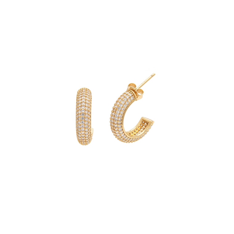 Pave Demi Hoops - Gold Vermeil