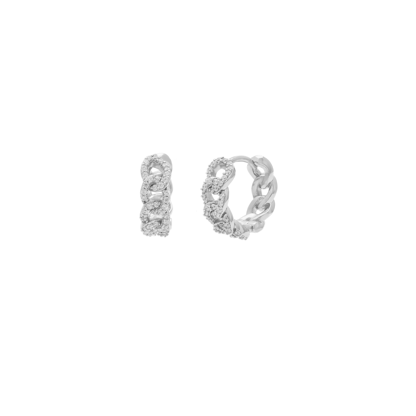 White Topaz Pave Chain Huggies - Sterling Silver