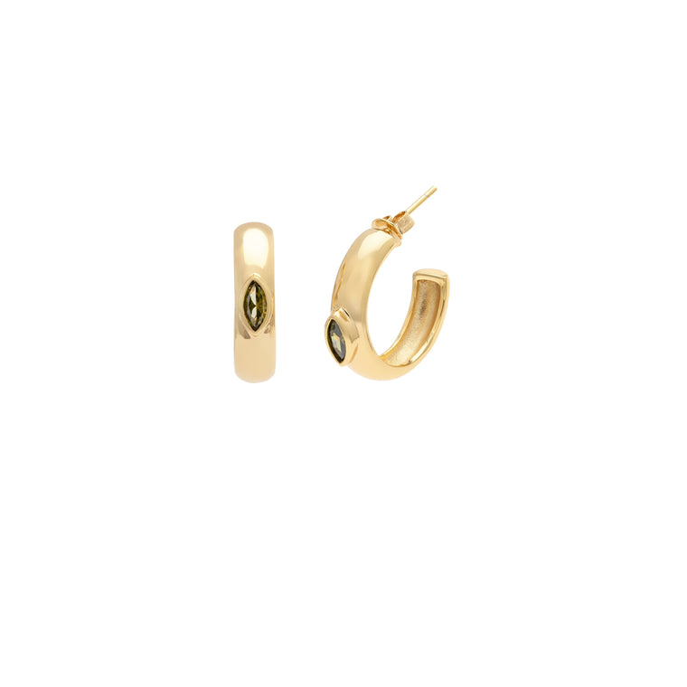 Marquis Demi Hoops - Green/Gold Vermeil