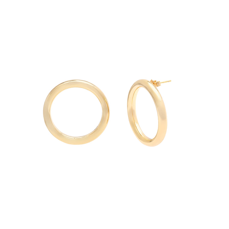 Modern Forward-Facing Hoops - Gold Vermeil