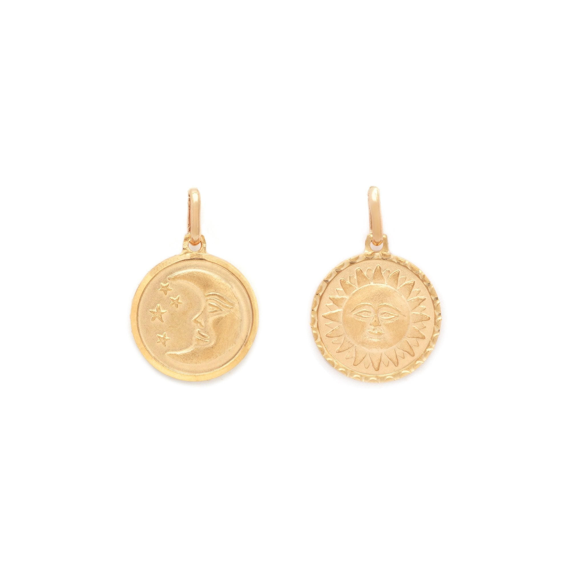 Sun and Moon Medallion - 10k Solid Gold